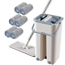 Flat Squeeze Magic Automatic Mop And Bucket Avoid Hand Washing Microfiber Cleaning Cloth Kitchen Wooden Floor Lazy Fellow
