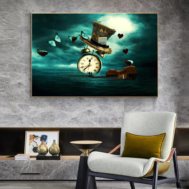 Clock Violin Butterfly Hat Surrealism Painting Printed on Canvas 5
