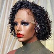 250% короткий вьющийся парик с вырезами фея, 13x6x1, парики из человеческих волос с боковой частью, бразильские волосы без повреждений, 8 дюймов, ч...