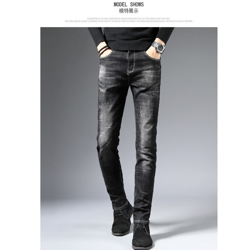 Autumn And Winter Youth Elasticity Jeans Men's Slim Fit Men Skinny Pants Black And White With Pattern Casual Straight-Cut Pants