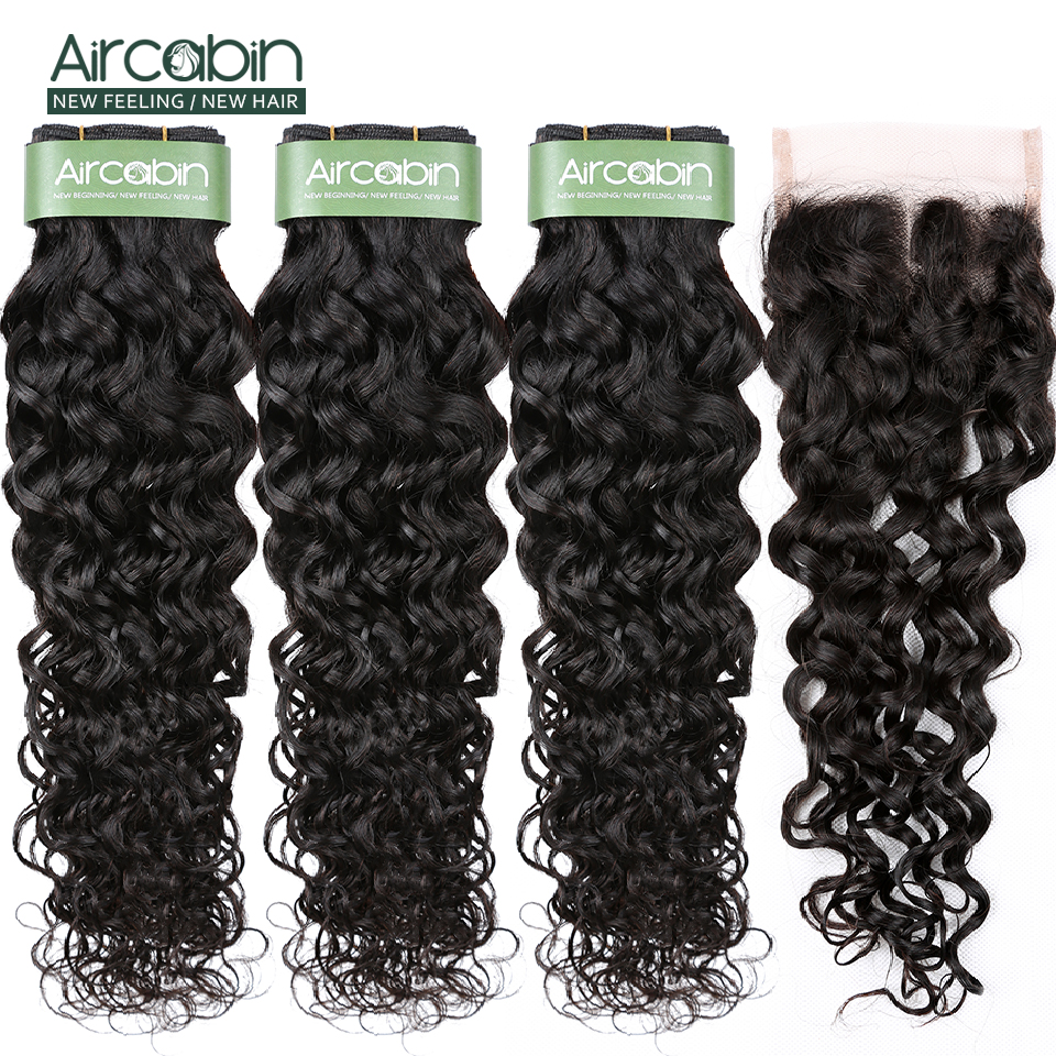 AirCabin Brazilian Hair Water Wave Bundles With Closure 3 Bundles Hair With Closure 4*4 Lace Closure Hair Extensions