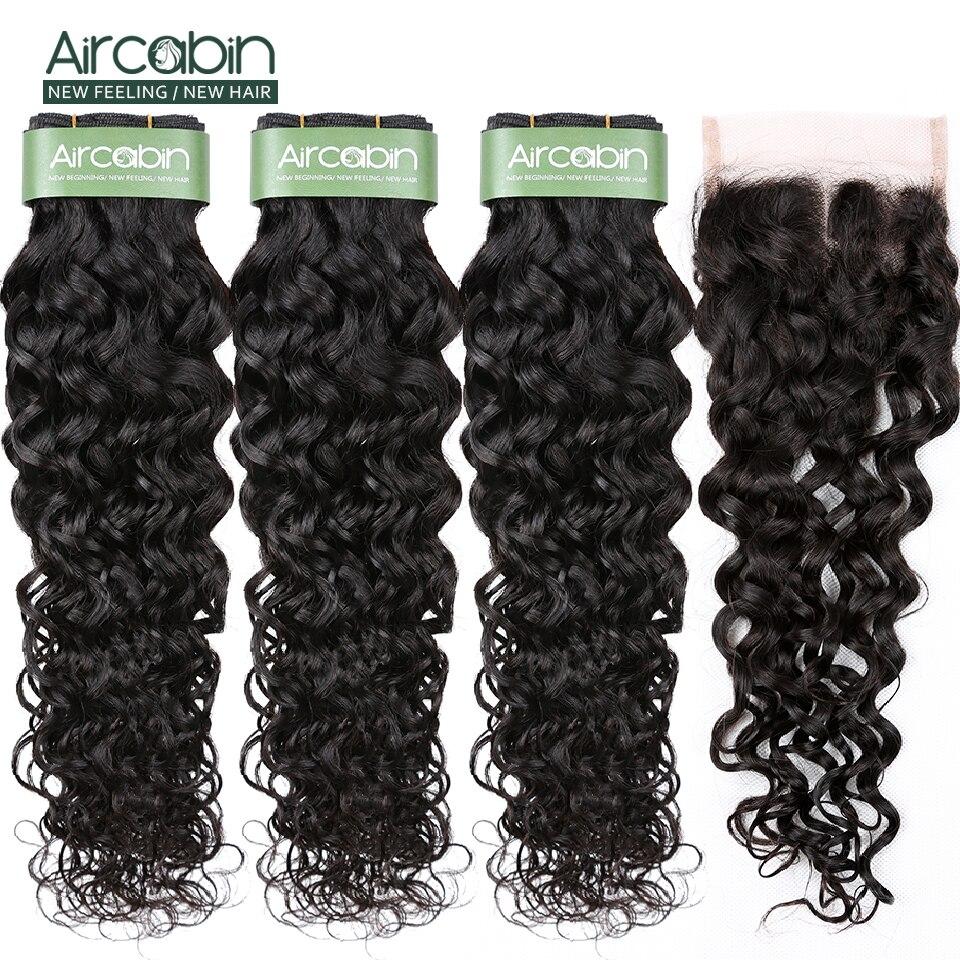 AirCabin Brazilian Hair Water Wave Bundles With Closure 3 Bundles Hair With Closure 4*4 Lace Closure Hair Extensions