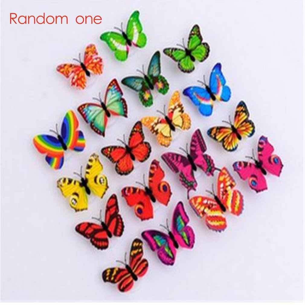 Buy 1 get 1 free Colorful LED Butterfly Night Light 3D Stereo Simulation Butterfly Wall Stickers Wall Decoration LED Night Light