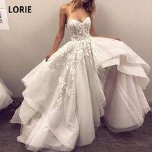 Лори высокого/низкого свадебные платья кружева аппликация Раффлед нижней свадебное платье пляж милая 2020 кружева Принцесса партии платья