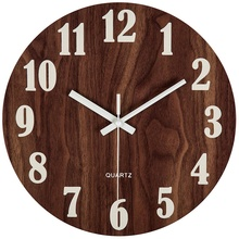 12 Inch Night Light Function Wooden Wall Clock Vintage Rustic Country Tuscan Style For Kitchen Office Home Silent & Non-Ticking original xiaomi mijia mute movement round wooden wall clock non ticking simple style home kitchen office decoracion wall clock