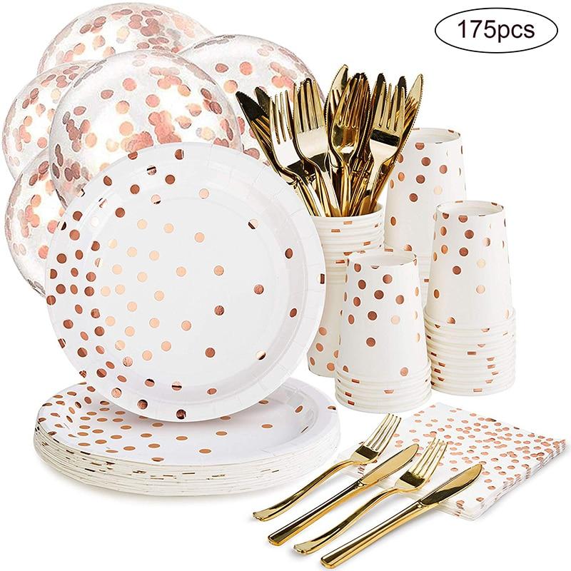 175 pièces or Rose fête jetable vaisselle Champagne tasse plaque pailles gâteau support Table décor mariage fête d'anniversaire fournitures