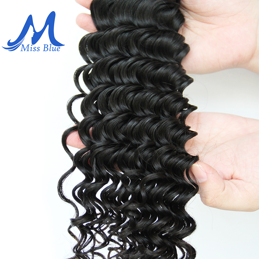 Missblue Deep Wave Malaysian Hair Weave Bundles 1 3 4 Pieces 100% Human Hair Bundles Natural Color Remy Hair Extensions 6