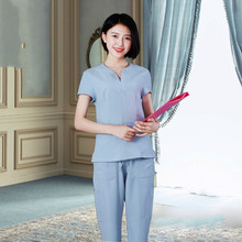 Cosmetologist's work clothes women's short sleeve suit large size slim stretch dress consultant service version