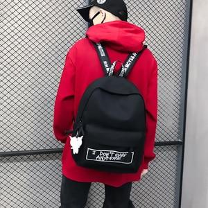 Image 2 - Keten sırt çantası Harajuku tarzı kadın sırt çantası bebek kolye omuzdan askili çanta yüksek kaliteli kız okul sırt çantası Mochila sırt çantası