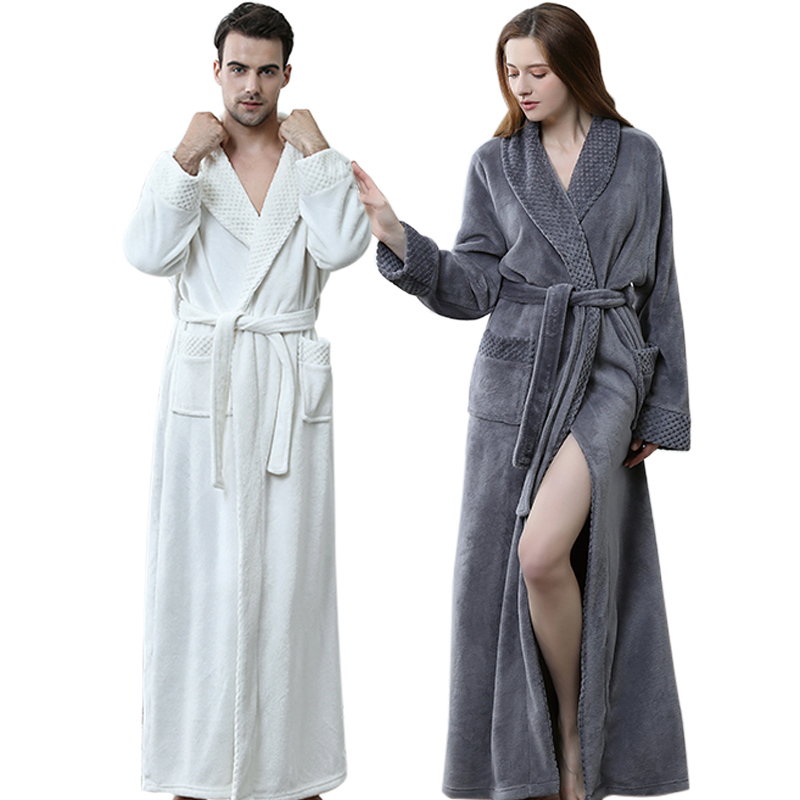 Extra Long Plus Size Winter Warm Coral Fleece Bathrobe Women Men Flannel Dobby Kimono Bath Robe