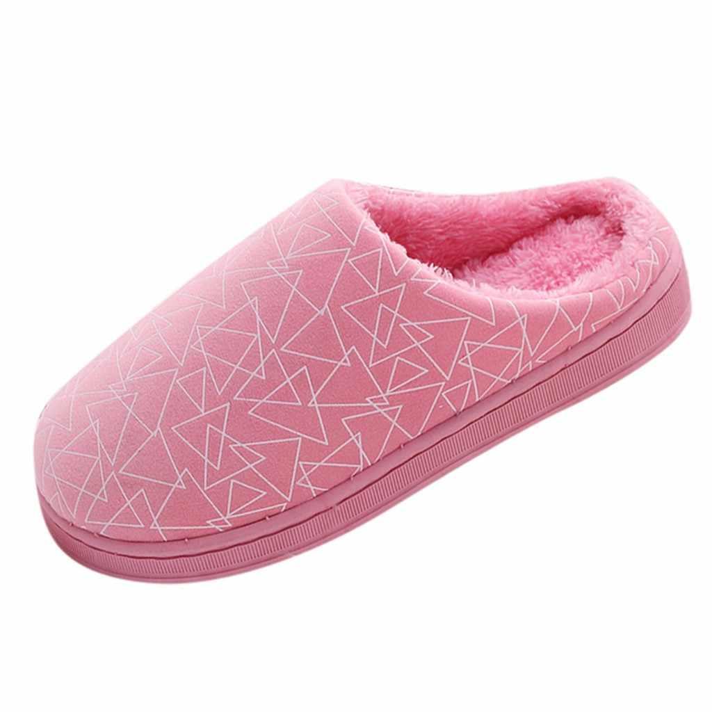 Zapatos mujer invierno casa zapatillas parejas Flock geométrico cálido antideslizante piso casa zapatillas interior zapatos de mujer