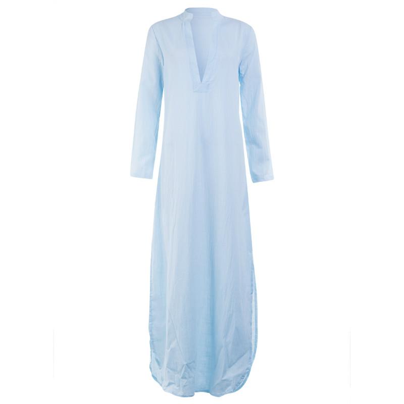 Women Gypsy Dresses Robe Long Sleeve V-neck Ethnic Boho Cotton Linen Summer Beach Maxi Dress 8