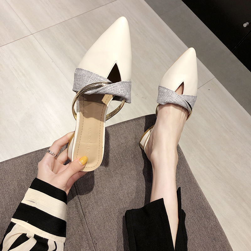 Women's Slippers 2019 Shoes Slides Pointed Toe Heeled Mules Loafers Fashion Low Square heel New Summer Cover Luxury Block