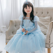 2020 Elsa Princess Skirt With Crown Ice Blue Bubble Sleeve Mopping Dress Pink Cartoon Cute Girls Children's Clothing Party Dress(China)