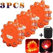 1/3PCS 휴대용 오렌지 자동차 반짝 스타 LED 도로 깜박이 경고등 길가 안전 비상 램프 디스크 비콘 자동차