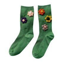 Прекрасный цветок вышивка хлопок носки женщины девушки конфеты цвет средний труба носок 6XDA
