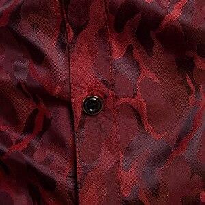 Image 5 - משי סאטן חולצה גברים 2018 חדש לגמרי חלק טוקסידו חולצת מבריק הסוואה הדפסת חתונה שמלת חולצות מקרית Slim Fit סגול חולצה