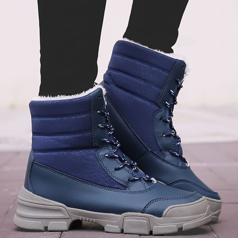 Fashion Sheepskin waterproof Fur Lined Women Casual Short Ankle Winter Boots for Ladies Lace Up Snow Boots Shoes image