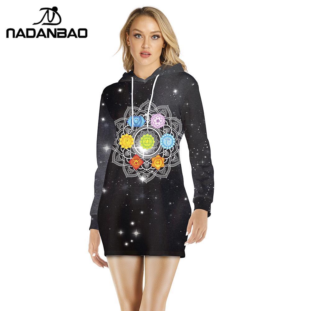 NADANBAO Autumn Mandala Hoodies For Women Chakra Galaxy Printing Sweatshirts Long Sleeve Pullover Clothing