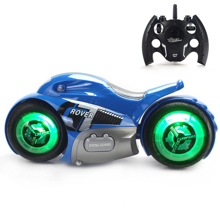 1:14 2.4G Kids RC Motorcycle with Cool Light High Speed Remote Control Model Toys Drift 360 Degree Rotary Stunt Children Gifts