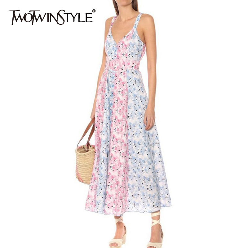 TWOTWINSTYLE Casual Print Women Dress V Neck Spaghetti Strap High Waist With Sashes Ruched Hit Color Dresses For Female Fashion