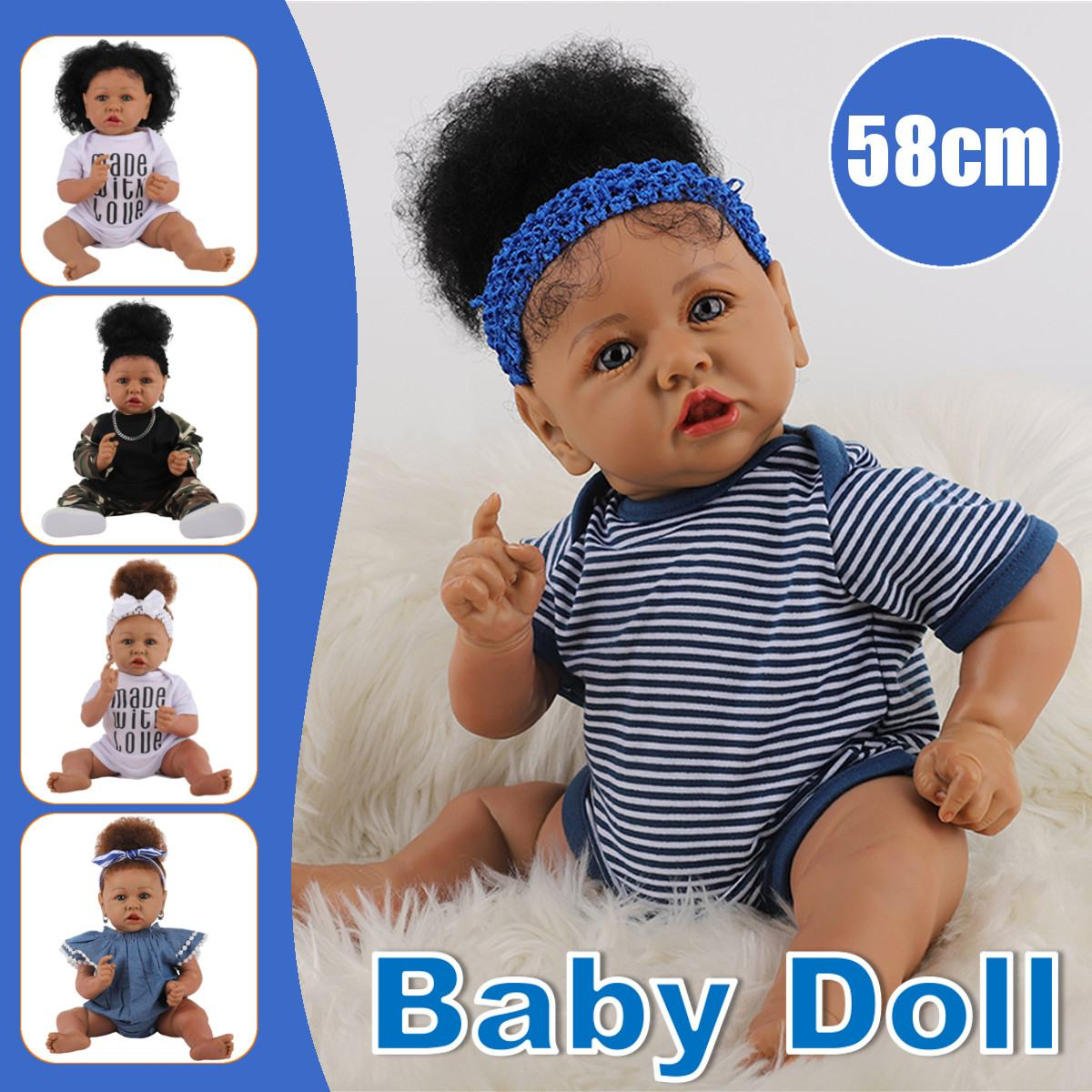 58cm Rebron Girl Doll 23inch New Bron Soft Silicone Reborn Toddler Baby Dolls Christmas And Birthday Best Gift lol Doll Toy Gift
