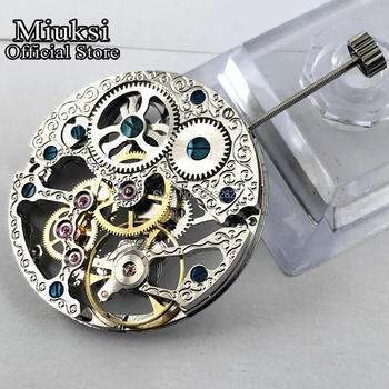 Miuksi 17 jewels silver asian full skeleton fit men's watch 6497 hand-winding movement  mens skeleton movement