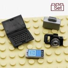 Stad Bouwstenen Kantoormedewerker Cijfers Accessoires Laptop Aktetas Telefoon Camera Kamer Stoel Bricks Speelgoed Voor Kids Onderdelen Kits