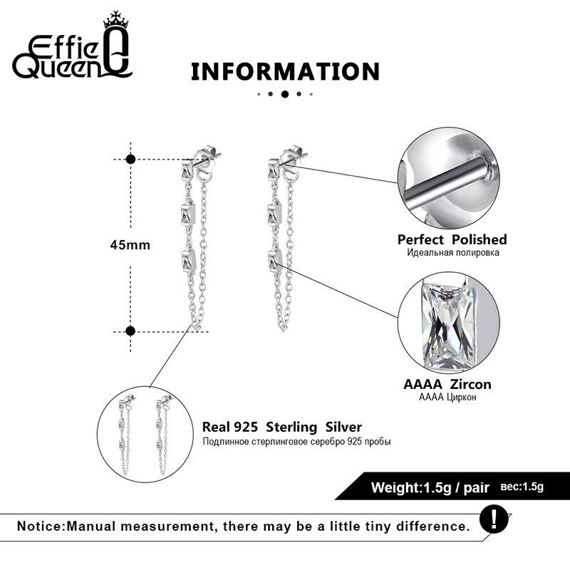 Effie Queen 925 Silver Chain Earring Texture Dangle Long Drop Earring With AAAA  Zircon Earring Jewelry Party Gift BE238 4