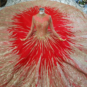Image 4 - HTL795 hồi giáo váy cưới với cô dâu vân Chiếu Trúc Hạt hoa văn cao cổ tay dài ren vàng áo cưới đỏ Đầm Vestido novia
