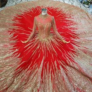 Image 4 - HTL795 moslim trouwjurk met bruidssluier kralen patroon hoge hals lange mouwen gouden kant wedding gown red vestido novia