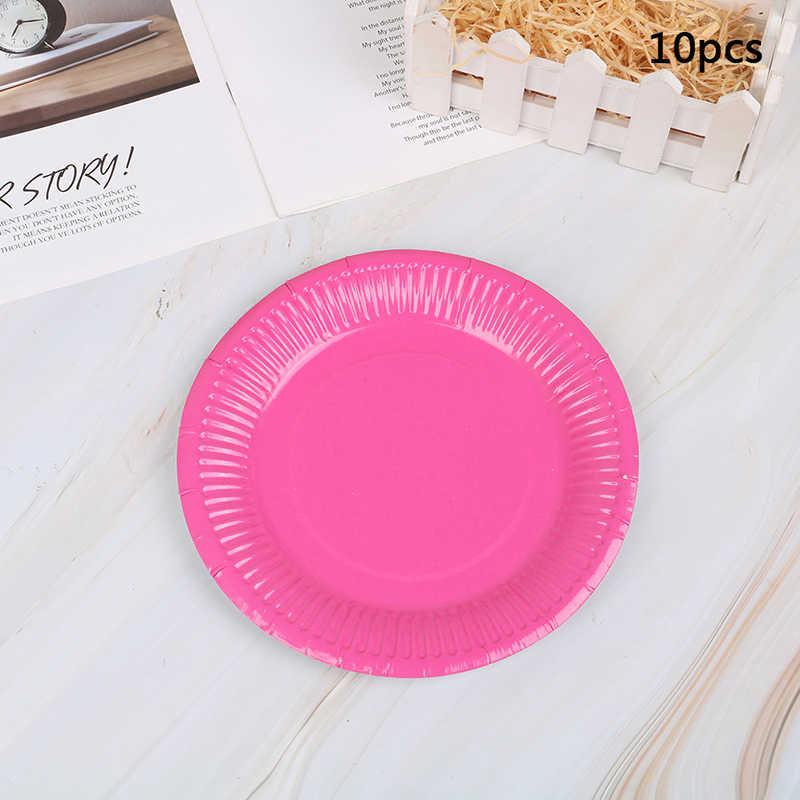 10 adet/grup çok renkli Disk tek kullanımlık tabaklar kek kağıt Pan DIY dekorasyon çocuklar doğum günü partisi düğün sofra tedarik