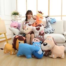 Cute Cartoon Animal Toy Pillow Lion/Tiger/Hippo/Giraffe/Zebra/Mule/Cow/Dog Plush Toy Pillow Simulation Animal Series Pillow Gift