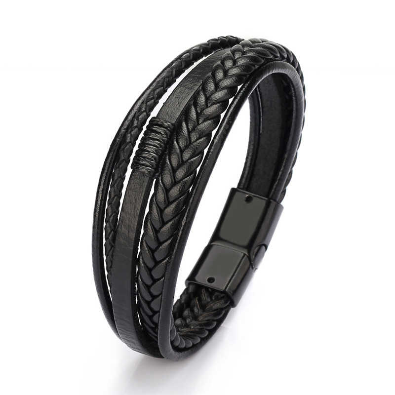 2019 Mens  Leather bracelets bangles Magnetic-Clasp Cowhide Braided Multi-Layer Wrap Bracelet for men pulseras hombre