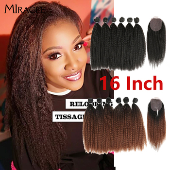 linlin indian human hair afro kinky curly hair 3 bundles weave extension hair bundles hair rollers wigs can dyed Afro Kinky Straight Hair Weave Bundles With Closure Ombre Synthetic Hair Extension 7pcs/Lot 16inch For Black Women Miracle hair