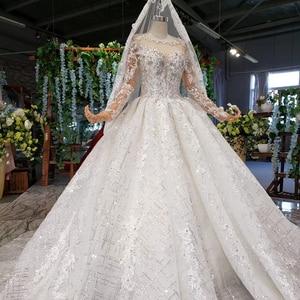 Image 3 - HTL954 suknie ślubne z długim rękawem illusion o neck koraliki kryształowe chiny suknie ślubne w turcji robe de mariee 11.11 promocja