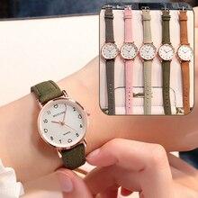 Reloj de pulsera sencillo Vintage con esfera pequeña y correa de cuero para mujer, regalo