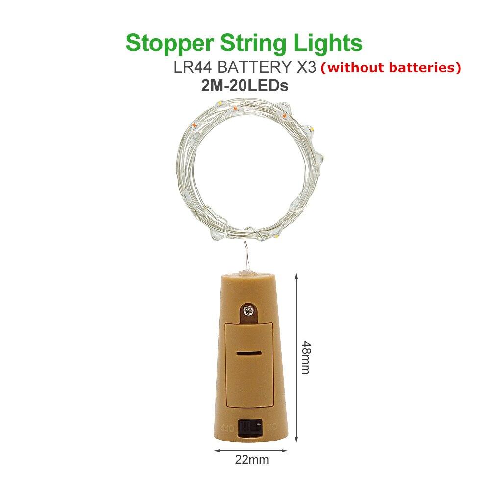 ANBLUB, 2 м, 3 м, 5 м, 10 м, наружный светодиодный гирлянда, праздничное освещение, Сказочная гирлянда для рождественской елки, украшения для свадебной вечеринки - Испускаемый цвет: 2M by LR44 Battery