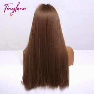 Image 5 - 小さなlanaオンブル茶色ブロンドロングストレート合成かつら女性のための前髪アフリカ耐熱ファイバー