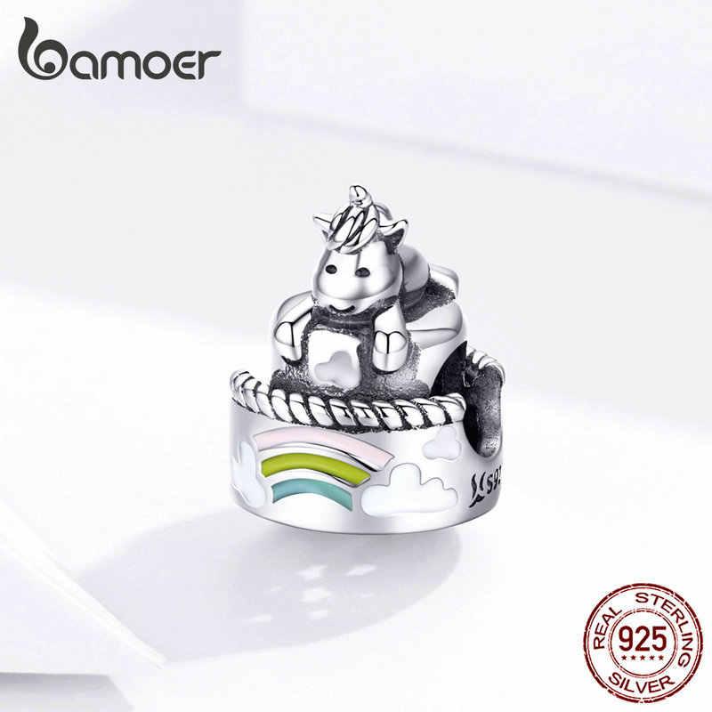 Bamoer Licorne no Bolo de Metal Beads Mulheres Charme Prata 925 Original Fit Bracelet & Bangle Jóias de Prata Esterlina Genuína SCC1311