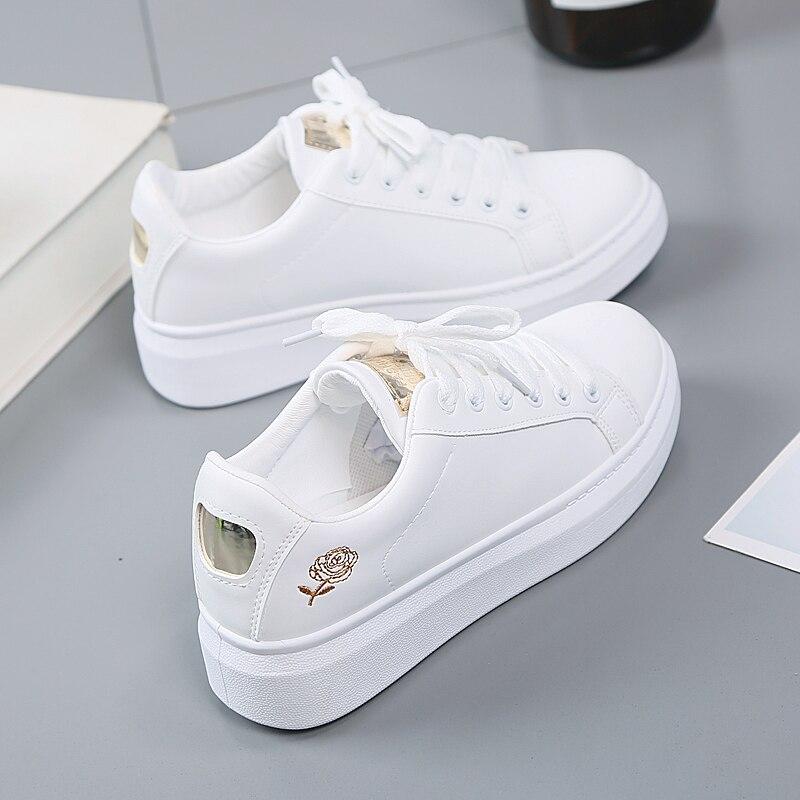Женские кроссовки с вышивкой, белые дышащие кроссовки на шнуровке с цветами, повседневная обувь на весну 2020