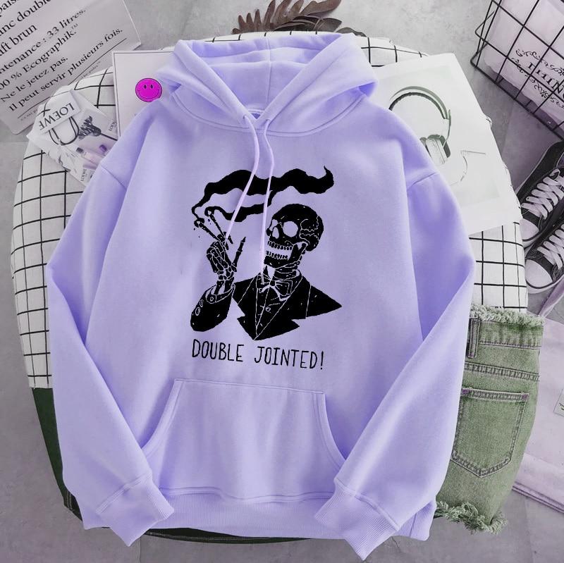 Punk style women's hoodie skull long sleeve casual top goth skeleton dark black 2021 loose ulzzang fashion women's sweatshirt 18