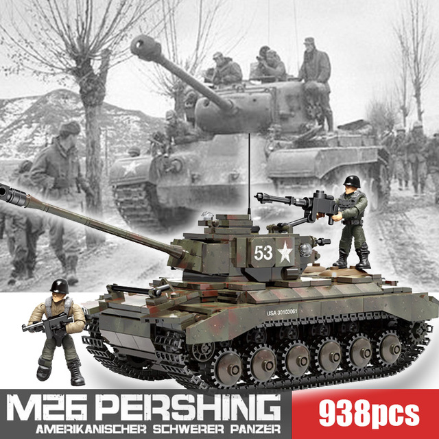 WW2 M26 Pershing tankı Panzer T 34 (85) abd almanya askeri tanklar yapı taşları askerler rakamlar tuğla seti oyuncak çocuk