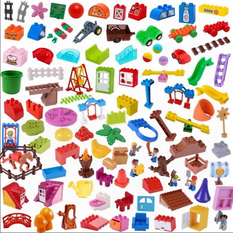 Legoing Duplo accesorios de bloques de construcción deslizante columpio muebles sofá techo Juguetes DIY para niños compatibles Duplo Legoings ladrillos