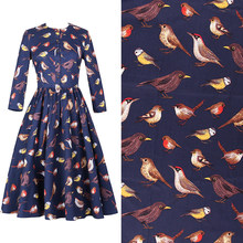 Handmade diy fabric Japanese style delicate clothing cotton fabric high density elastic poplin bird printed fabric(China)