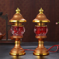 A pair of LED Fortuna lamp electric candle for Buddha God table lamp lucky wave lamp long light lamp Buddhism lotus lamp Buddha