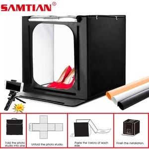 Image 1 - Samtian 사진 상자 60cm 라이트 박스 폴드 소프트 박스 텐트 3 색 배경 쥬얼리 장난감 사진 사진 라이트 박스 led 라이트