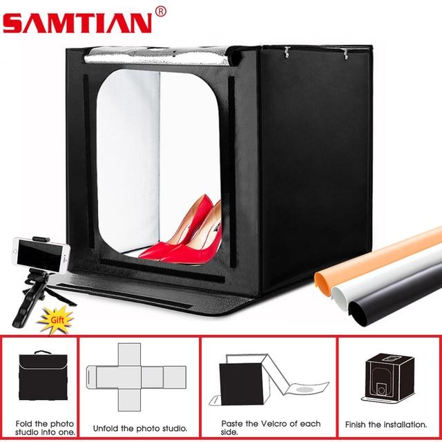 Samtian 사진 상자 60cm 라이트 박스 폴드 소프트 박스 텐트 3 색 배경 쥬얼리 장난감 사진 사진 라이트 박스 led 라이트
