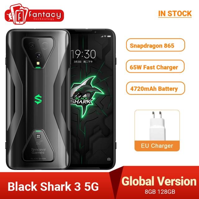 Global Version Black Shark 3 5G Snapdragon 865 8GB 128GB Game Phone Octa Core 64MP Triple AI Cameras 65W 4720mAh 1