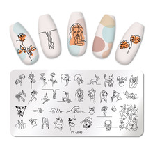 PICT YOU Nail Stamping Plates Line Pictures Nail Art Plate Stainless Steel Design Stamp Template for Printing Stencil Tools cheap CN(Origin) 12 cm * 6 cm 6 cm * 6 cm PYI49158